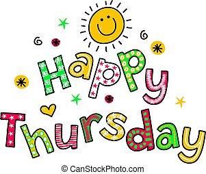 texto, quinta-feira, caricatura, clipart, feliz