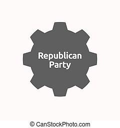 texto, republicano, engrenagem, partido, isolado