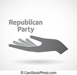 texto, republicano, isolado, partido, mão