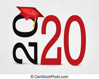 texto, rojo, graduación, 2020