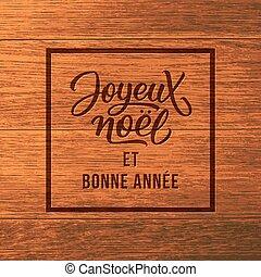 texto, saludo, wood., joyeux, noel, tarjeta de navidad