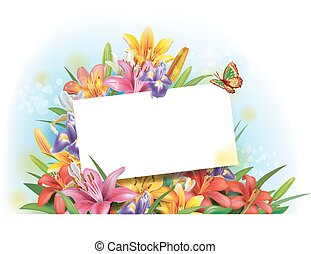texto, saudação, arranjo, cartão, flores, vazio