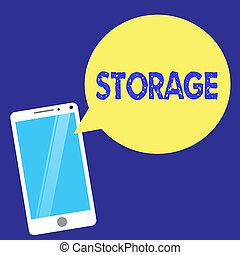 texto, señal, actuación, storage., conceptual, foto, acción, de, almacenamiento, algo, para, futuro, uso, retener, cosas, seguro