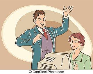 texto, secretária, dictates, retro, homem negócios
