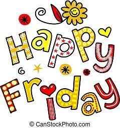 texto, sexta-feira, caricatura, clipart, feliz