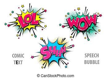 texto, shh, wow, cómico, lol, conjunto, burbuja del discurso