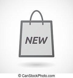 texto, shopping, isolado, novo, saco