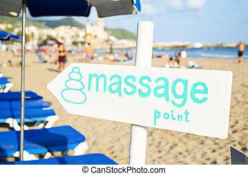texto, signpost, praia, massagem, ponto
