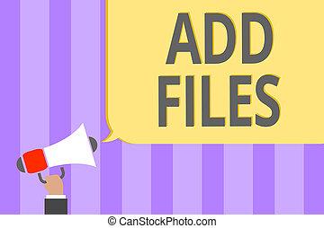 texto, sinal, mostrando, adicionar, files., conceitual,...