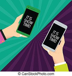 texto, sinal, mostrando, aquilo, é, mostrar, time.,...