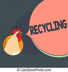 texto, sinal, mostrando, recycling., conceitual, foto, convertendo, desperdício, em, reutilizável, material, proteger, a, meio ambiente