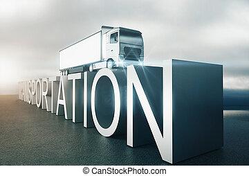 texto, transporte, caminhão