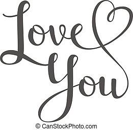 texto, tu, vetorial, amor