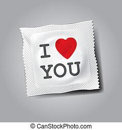 texto, usted, amor, condón