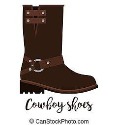 texto, vaquero, shoes, icono