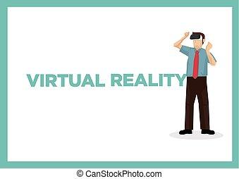 texto, vr, side., virtual, hombre de negocios,...