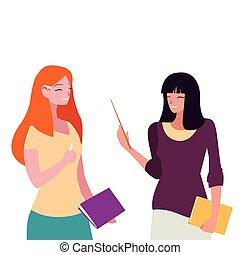 textos, caráteres, par, professores, femininas