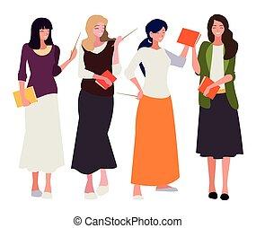 textos, femininas, professores, caráteres