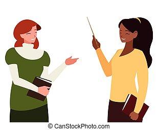 textos, interracial, caráteres, professores, femininas