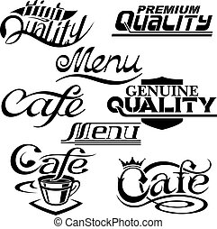 textual design elements - cafe and quality textual design...
