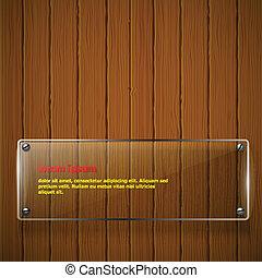 textura de madera, con, vidrio, armazón