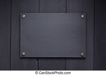 textura de madera, letrero nombre, plano de fondo, negro