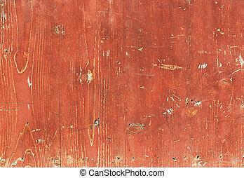 textura de madera, viejo, rojo, pintado