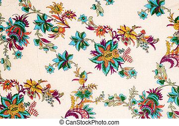 textura, experiência., algodão, tecido, flores, ligado, um, bege, experiência., abstratos, padrão