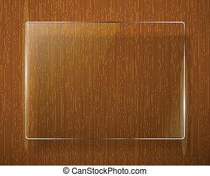 textura madeira, com, vidro, framework., vetorial, eps10