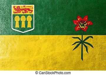textura, pintado, couro, província, saskatchewan, canadá, bandeira