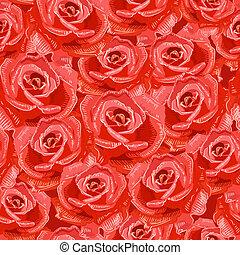 textura, seamless, de, rosas