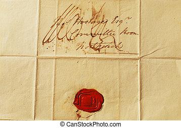 texturas, antigas, -, selo, fundos, letra, cera, vermelho