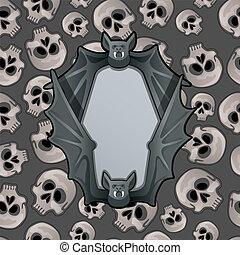 texturas, cinzento, estilo, vetorial, fundo, cartaz, quadro, morcego, dia das bruxas, close-up, holiday., atmosphere., forma, crânios, human, misteriosa, metal, caricatura, asas, illustration.