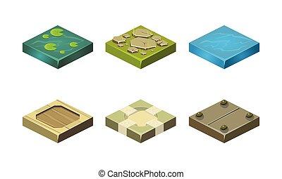 texturas, diferente, ativos, jogo, app, móvel, ilustração, plataformas, jogo, vetorial, vídeo, usuário, fundo, interface, branca, ou, chão