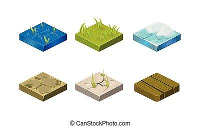 texturas, diferente, ativos, jogo, app, madeira, ilustração, gelo, capim, plataformas, jogo, vetorial, vídeo, água, móvel, interface, pedra, usuário, ou, chão