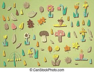 texturas, elementos, eps10, grande, sombras, gradiente, grupo, aislado, ilustración, fondo., vector, colección, colores, mode., grunge, vegetación