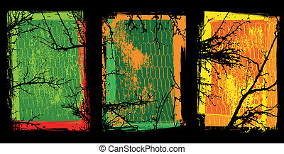 texturas, grunge, árvores