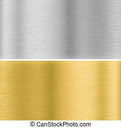 texturas, metal, prata, ouro