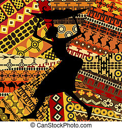 texturas, mulher, étnico, fundo, africano