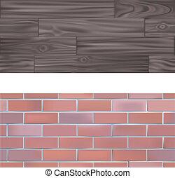 texturas, tijolo, madeira, tileable, seamlessly