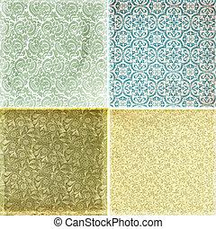 texturas, vendimia, papel pintado, colección, patrón