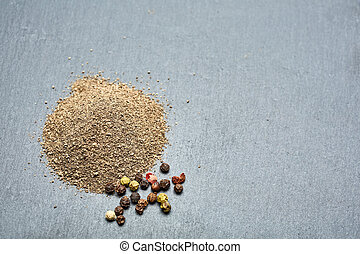 Texture background. Black pepper powder Top view. - Top view...