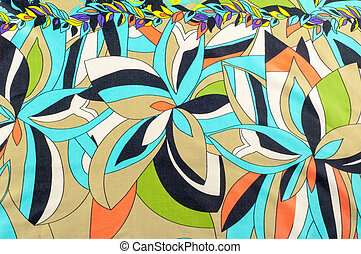 texture, background, fabric. With floral patterns. blue brown red green and white colors