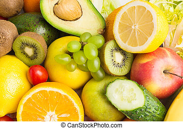 Texture background of colorful raw vegetables and fruits