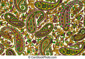 Texture. Background. Paisley or Paisley pattern is a term in English for a design using the boteh or buta, a droplet-shaped vegetable motif of Persian and Indian origin