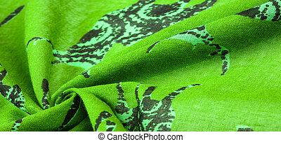 Texture, Background, Pattern, Decor, Art Nouveau, Textile, Art, Design, Green cotton fabric with a print of deer silhouettes, Modern futuristic art