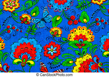 Texture, background. textiles. cotton cloth. linen, bright yellow flowers on a blue background, pattern on fabric