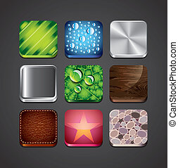 texture backgrounds for app icons vector set