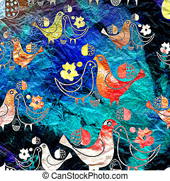 texture birdies on watercolor background - seamless pattern...