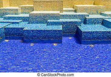Texture blue mosaic tile background
